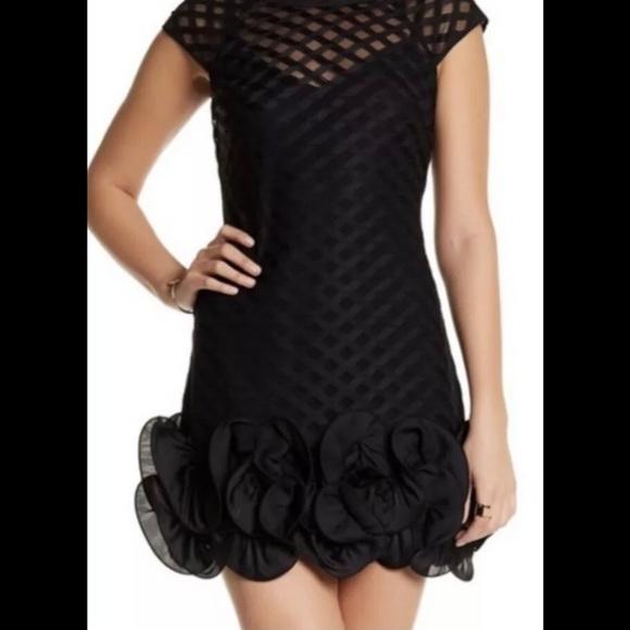 Jessica Simpson Black Lace Ruffle Hem Dress 12